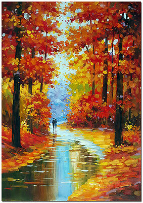 """16x24"""" Hand Painted Modern Impressionist Rainy Landscape Oil Painting On Canvas"""