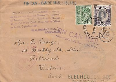 Stamps Tonga 1937 tin can outwards cover to Ballarat Victoria Australia, cachet