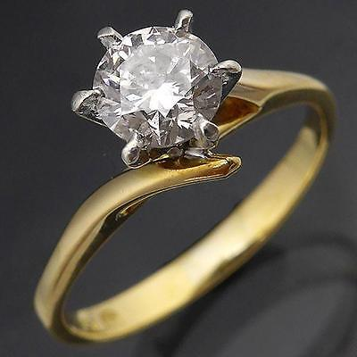 Solitaire 18K GOLD DIAMOND ENGAGEMENT RING estate yellow solid Val=$2990 Sz J1/2