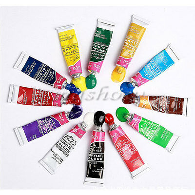 Artists Acrylic Painting Set With Brush 12 Assorted Color Tube 6ml Art Craft Kit
