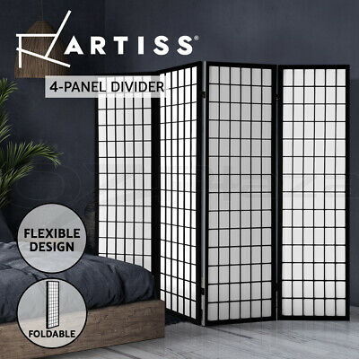 Artiss 4 Panel Room Divider Screen Solid Wood Timber Black Fold Stand 174cm wide