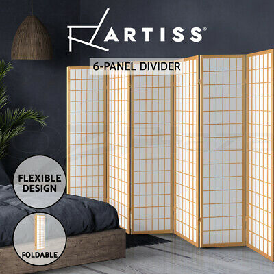 6 Room Divider Solid Wooden Timber Natural Panel Fold Screen Stand Privacy