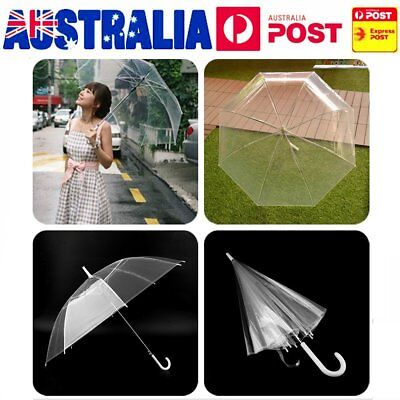 Clear Transparent Rain Umbrella Parasol Plastics Dome Wedding Party Favor AUJ