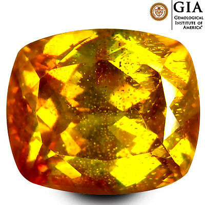 12.04 ct GIA Certified AAAA Amazing Cushion Cut (13 x 11 mm) Yellow Sphalerite