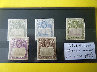 ASCENSION Is: 5 x MOUNTED MINT GEORGE V VALUES TO 1/-, 1924-33 (CAT £82+) RARE!