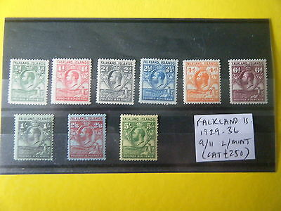 FALKLAND Is: 9 x MOUNTED MINT TO 5/-, GEORGE V 1929-36 (CAT £250+) RARE!