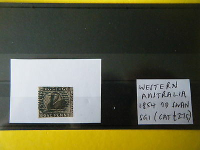 "Western Aus: 1854 Penny Black ""swan"", First Stamp Issued! (Cat £275) - Rare!"