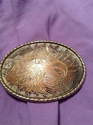 Gold Tone Eagle Belt Buckle USA Made Stamped W