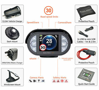 Road Angel Gem Deluxe + Speed Camera Detector Blackspot Alerter & Laser Detector