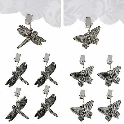 4 Or 8 Metal Tablecloth Weights Butterfly Dragon Clip On Picnic BBQ Charms