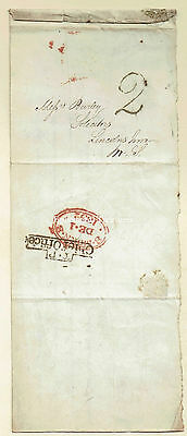 1832 entire to London.  Boxed T.P.Chief Office cancel.