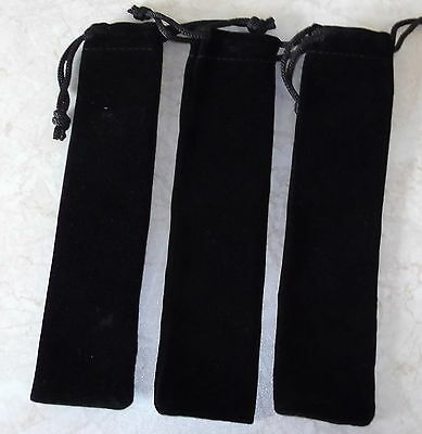3 X Black Velvet Pen Sleeve / Pouch, Draw String, Brand New