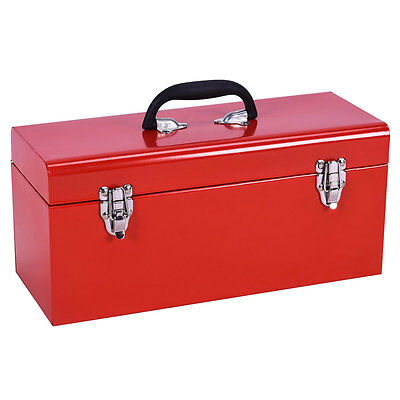 Bentley 17'' Metal Red Tool box with Metal Latches 425mm Storage Heavy Duty