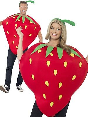 Strawberry Costume Ladies Mens Novelty Fruit Fancy Dress Outfit One Size