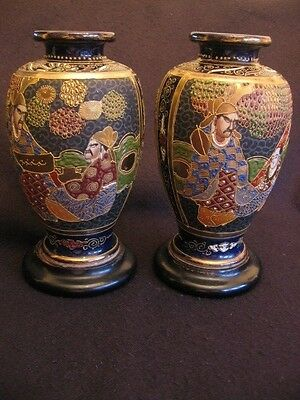 "ANTIQUE PAIR of HAND-PAINTED JAPANESE SATSUMA KOZAN MORIAGE 8.75"" VASES + BASES"