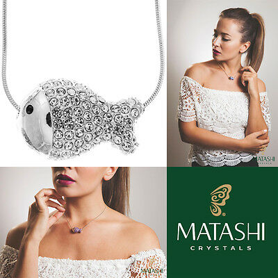 "16"" Rhodium Plated Necklace w/ Fish Design & Quality Crystals by Matashi"