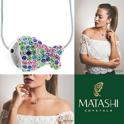 "16"" Rhodium Plated Necklace w/ Fish Design & Multi-Colored Crystals by Matashi"