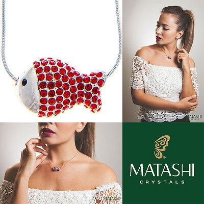 "16"" Rhodium Plated Necklace w/ Fish Design & Quality Red Crystals by Matashi"