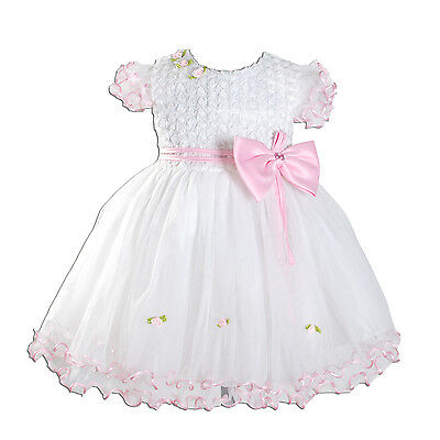 New Baby Girls Ivory and Pink Christening Flower Girl Party Dress 9-12 Months