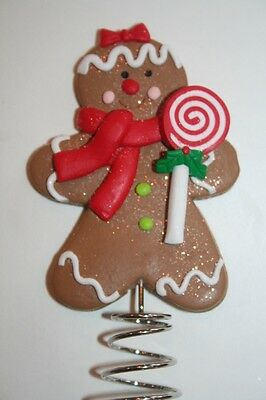 NEW Mini GINGERBREAD MAN Christmas Tree Topper GIRL Candy Cookie SPARKLE 4.25""