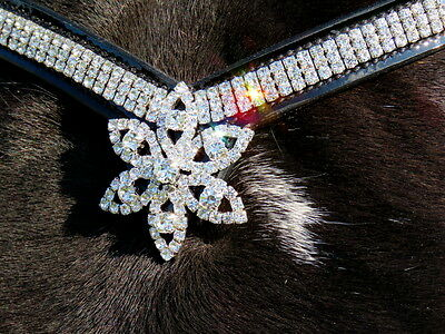 FSS STARBURST V VEE SHAPE 3x Row Clear Crystal STAR DROP Bling PATENT BROWBAND