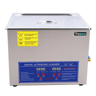 15L Digital Ultrasonic Cleaner Heater Heating Bath Timer Cleaning Basket & Cover