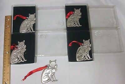 Set Of 5 Lindsay Claire Christmas Cat W Bow Fine Pewter Ornaments 4 New In Box