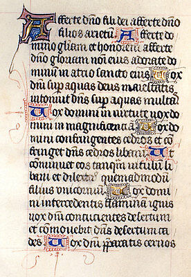 MEDIEVAL BOOK OF HOURS ILLUMINATED MANUSCRIPT LEAF c1450 PSALMS 28 & 30 - GOLD!!
