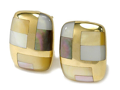 New Asch Grossbardt Earrings 14K yellow gold, multi color Mother of Pearl inlay