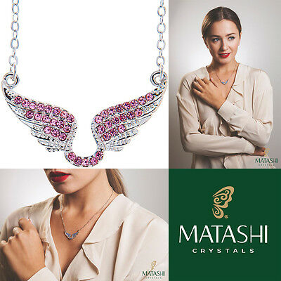 "16"" Rhodium Plated Necklace w/ Angel Wings & Quality Pink Crystals by Matashi"