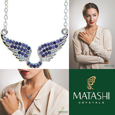 "16"" Rhodium Plated Necklace w/ Angel Wings & Quality Purple Crystals by Matashi"