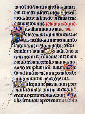 MEDIEVAL BOOK OF HOURS LEAF ILLUMINATED MANUSCRIPT c1450 GOLD INITIALS, PSALM 27