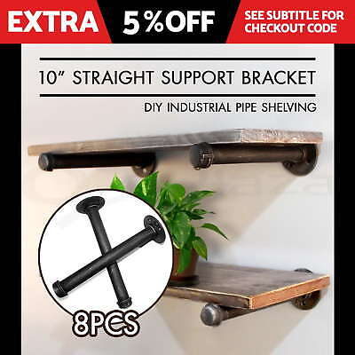 10'' Rustic Vintage Mount Bracket Set Industrial DIY Pipe Shelf Furniture Wall