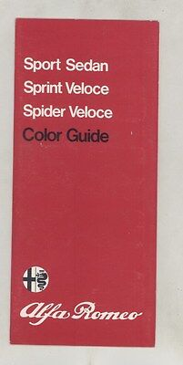 1976 1977 1978 Alfa Romeo Sedan Spint Spider Veloce Paint Colors Brochure ww4175