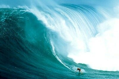 SURFING ~ BIG WAVE RIDER 24x36 POSTER Giant Huge Surf Ocean Tow Peahi