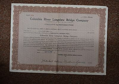stock certificate,columbia river longview bridge co.,washington 1931  t2