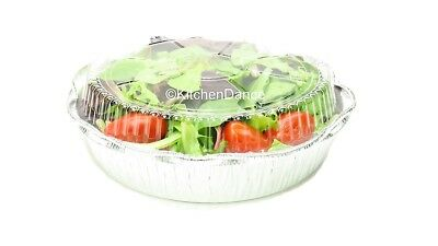"""8"""" Round Disposable Aluminum Carry out pans with Plastic Dome Lids- Case of 500"""