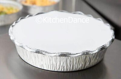 """8"""" Round Disposable Aluminum Take Out/ Food Storage Pans w/ Board Lids #280L"""