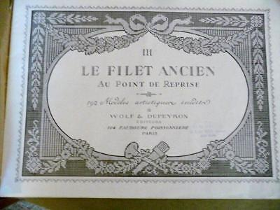 Antique Lace Pattern Book Le Filet Ancien 111 Paris1921 - EXCELLENT