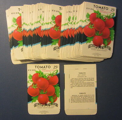 Wholesale Lot of 100 Old Vintage - TOMATO - Red Cherry - Vegetable SEED PACKETS