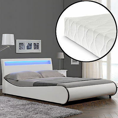 CORIUM LED Modern Upholstered Bed + Mattress 140x200cm imitation leather White