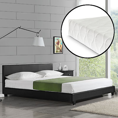 CORIUM Design Upholstered Bed with Mattress 180 x 200 cm imitation leather Black