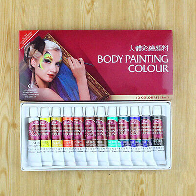 12 Colors Non-Toxic Face Body Painting Color Pigment Temporary Body Paint Art to