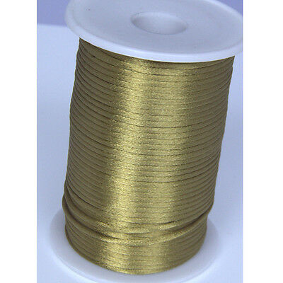 brown 2MM Rattail Satin Cord Macrame Beading Nylon kumihimo String DIY 10yds