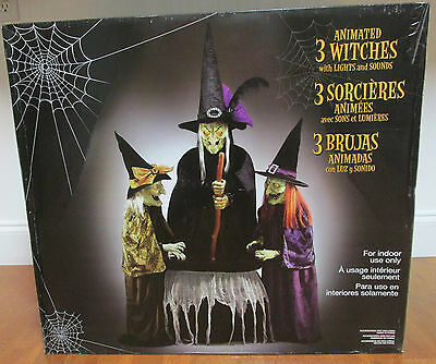 Animated 3 Witches with Lights and Sounds, Halloween Party Prop NEW