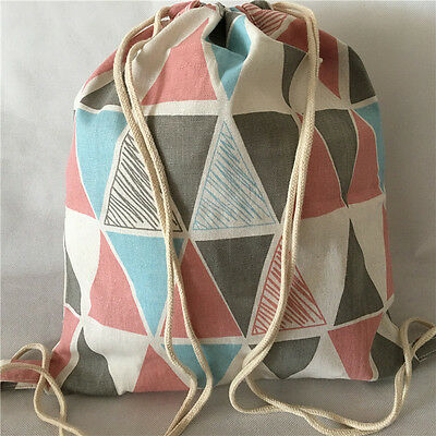 Cotton Linen Drawstring Backpack Shoes Bag Student Bag Geometry Triangle B