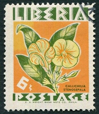 LIBERIA 1955 6c yellow, salmon and green SG763 used FG Flowers #W2