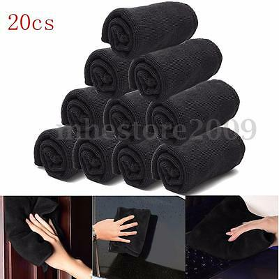 20x Black Microfibers Wash Towel Auto Car Detailing Cleaning Ultra Soft Cloths