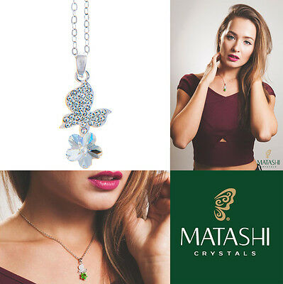 """16"""" Rhodium Plated Necklace w/ Butterfly, Flower & Clear Crystals by Matashi"""