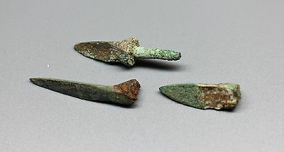 3 Different Ancient China Bronze Arrowheads- Warring States 475BC-221BC